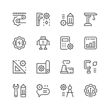 icons: Set line icons of engineering