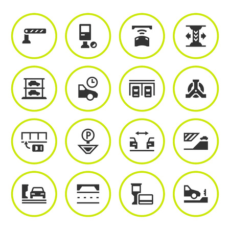 Set round icons of parking