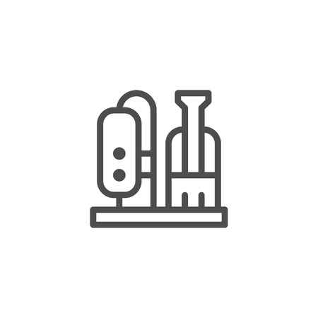 oil and gas industry: Refinery plant line icon Illustration