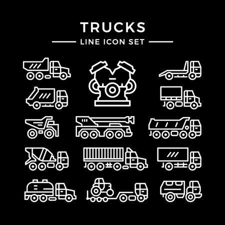 icons: Set line icons of trucks isolated on black. Vector illustration