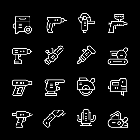 sander: Set line icons of electric tools