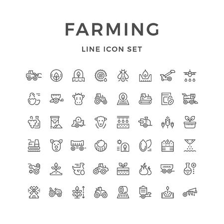 Conjunto de iconos de línea de la agricultura y la agricultura Ilustración de vector