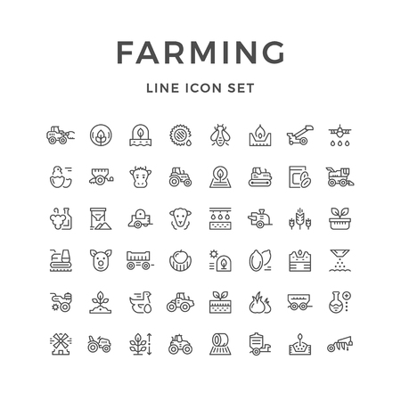 Définir les icônes de ligne de l'agriculture et de l'agriculture Vecteurs
