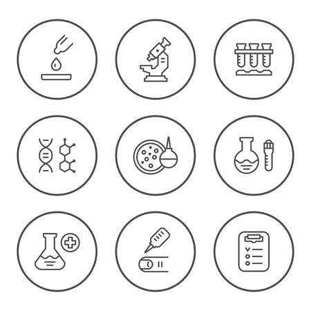 laboratory equipment: Set round line icons of medical analysis