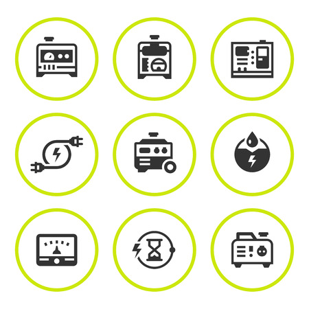 Set round icons of electrical generator