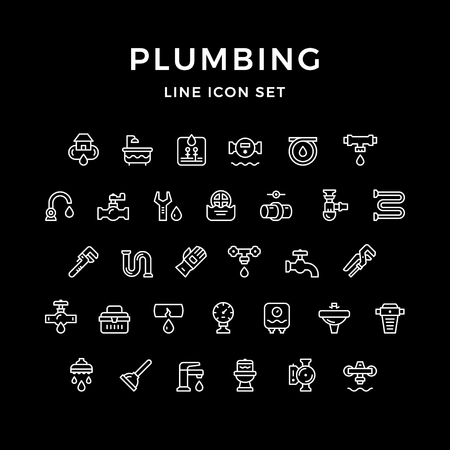 Set line icons of plumbing Illustration