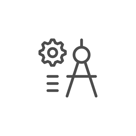 construction projects: Engineering line icon