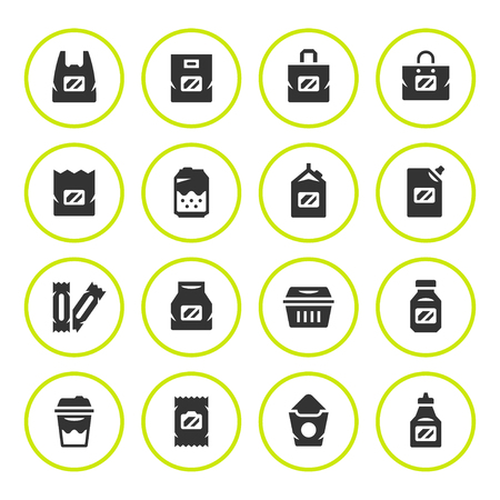 food: Set round icons of package