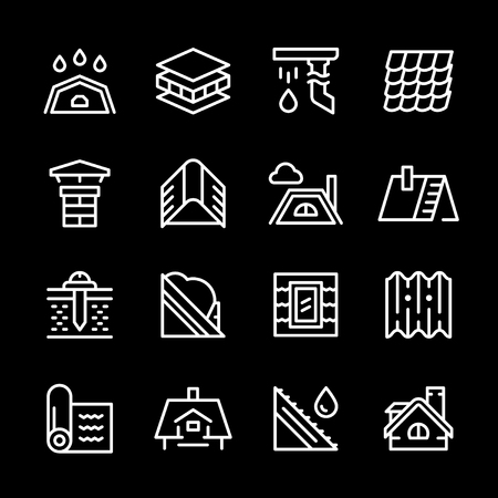 slate roof: Set line icons of roof Illustration