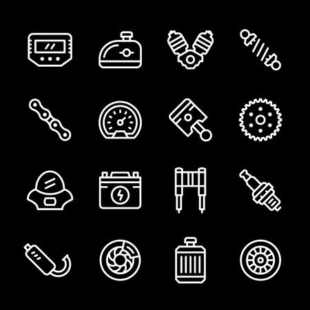 Set line icons of motorcycle parts Illustration