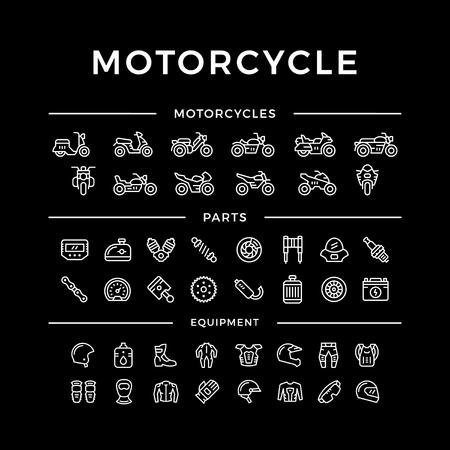 Set van de motorfiets gerelateerde lijn iconen