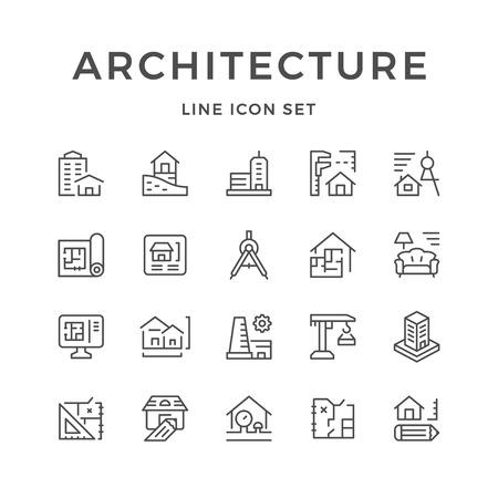 Lijnpictogrammen van architectuur instellen