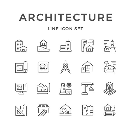 real estate house: Set line icons of architecture