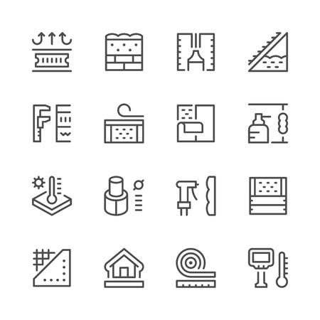 Set line icons of insulation Illustration