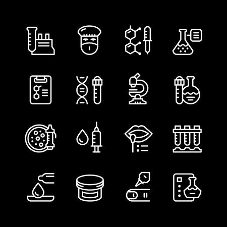Set line icons of medical analysis