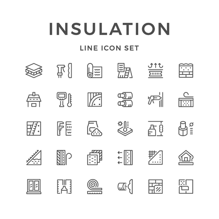 Set line icons of insulation Vectores