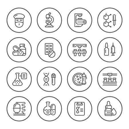 Set round line icons of pharmaceutical industry