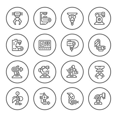 Conjunto de iconos de línea redonda de la industria robótica Ilustración de vector
