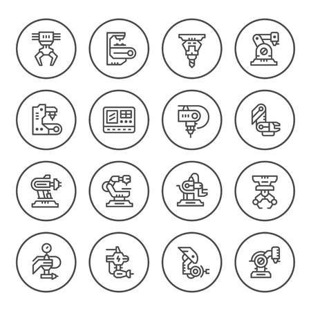 Set round line icons of robotic industry