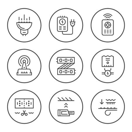 light emitting diode: Set round line icons of LED equipment