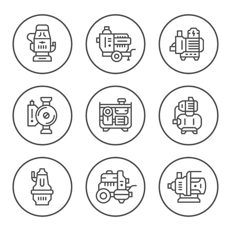 Set round line icons of water pump Illustration
