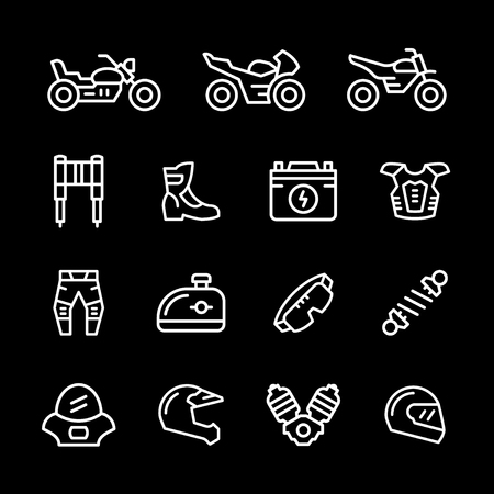 Set of motorcycle related line icons isolated on black. Vector illustration
