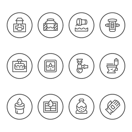 Set round line icons of sewerage Illustration