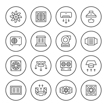 Set round line icons of ventilation Çizim