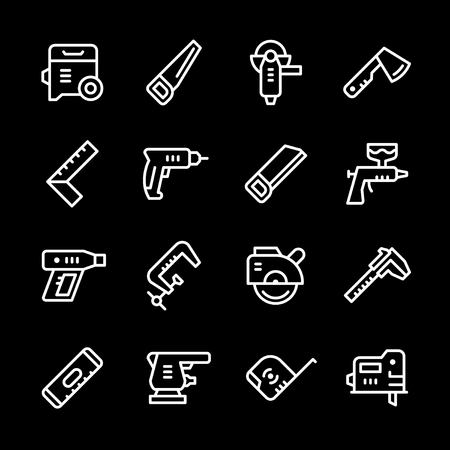 Set line icons of electric and hand tool Illustration