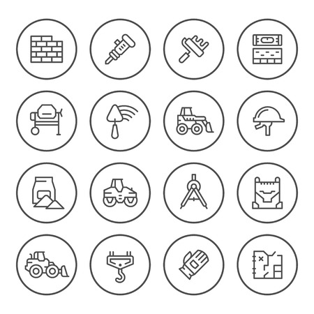 heavy construction: Set round line icons of constructing industry