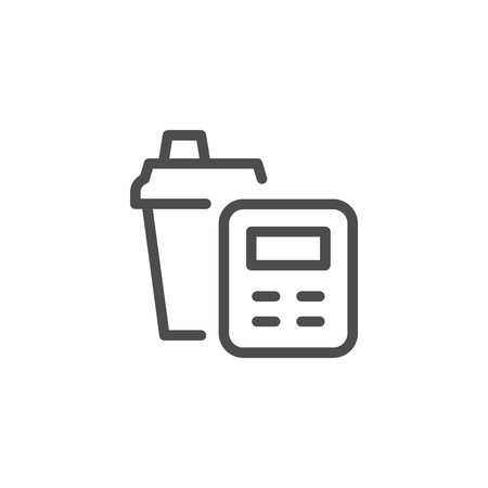 Calorie counting line icon Иллюстрация