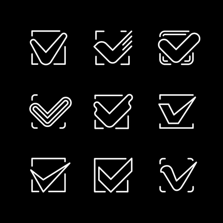 Set line icons of check mark
