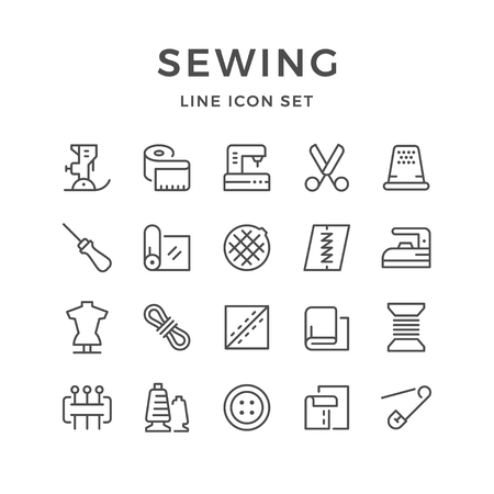 awl: Set line icons of sewing