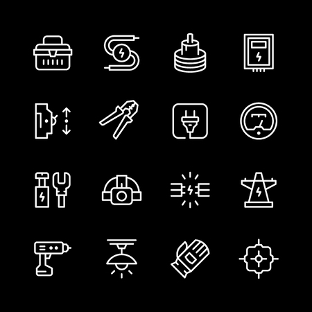 Set line icons of electricity. Illustration