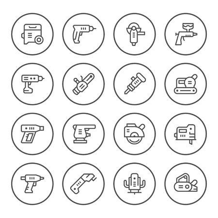 Set round line icons of electric tools. Illustration