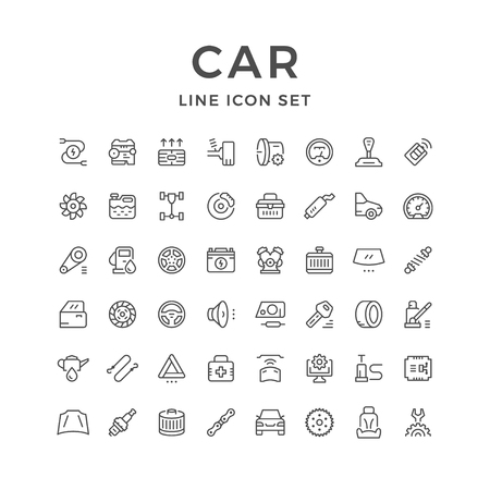 gas radiator: Set of car related line icons Illustration
