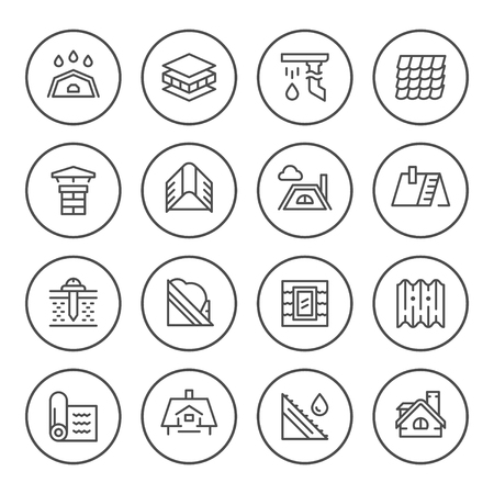 Set round line icons of roof