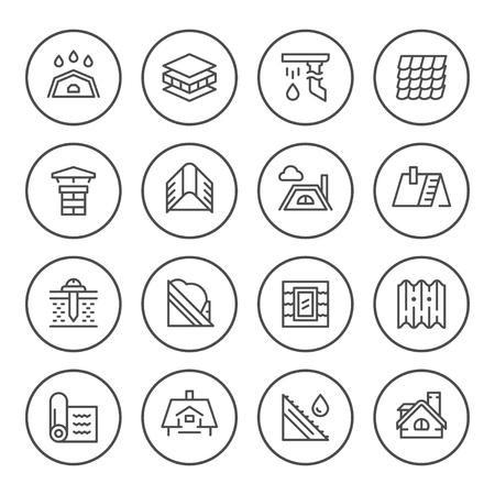 Stel ronde pictogrammen van het dak