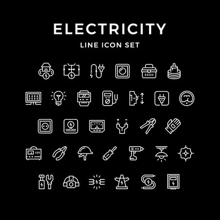 Set line icons of electricity isolated on black. Vector illustration Illustration