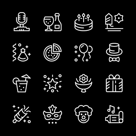 champagne celebration: Set line icons of party