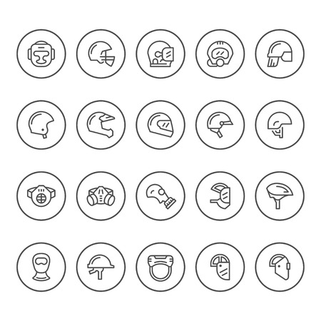 army gas mask: Set round line icons of helmets and masks