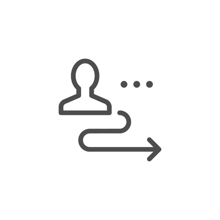 Person displacement line icon