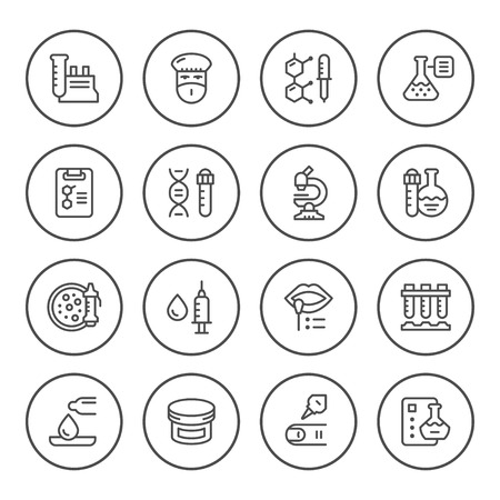 Set round line icons of medical analysis