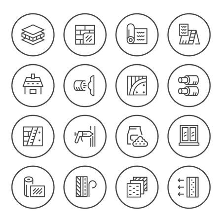 Set round line icons of insulation Illustration