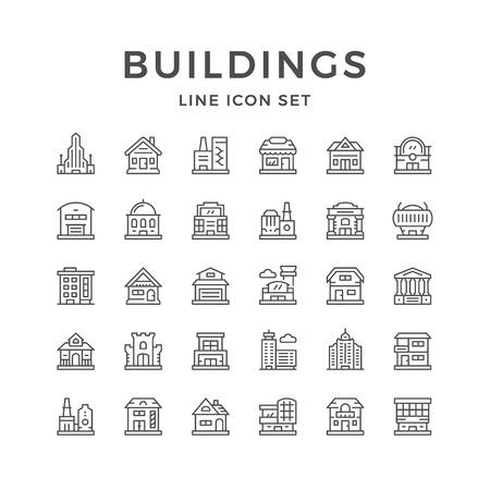 Impostare le icone delle linee di edifici. Vettoriali