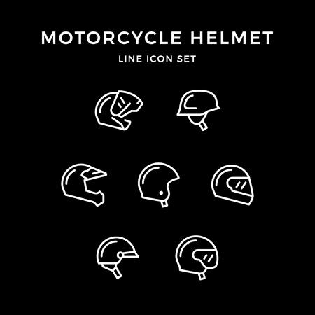 Set line icons of motorcycle helmet Stock Vector - 85555073