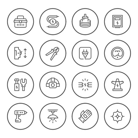 Set of round line icons of electricity
