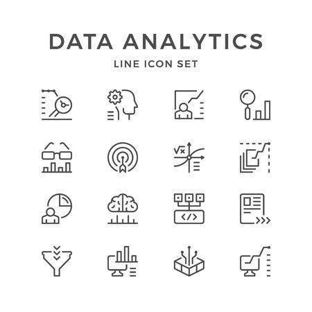 Set line icons of data analytics.