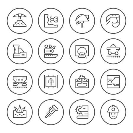 schemes: Set round line icons of mining Illustration