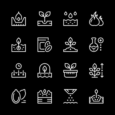 Set line icons of seed and seedling 向量圖像